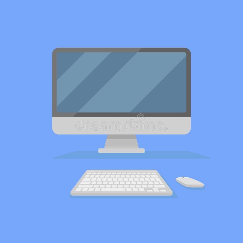 桌面个人计算机有在蓝色背景和老鼠的隔绝的显示器、键盘 正面图 平的样式象 皇族释放例证