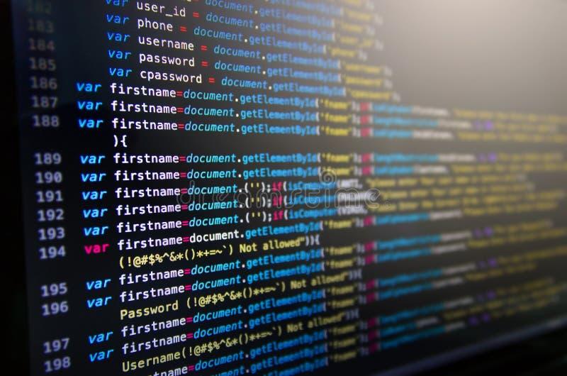 桌面原始代码和墙纸由计算机语言与codi 库存图片