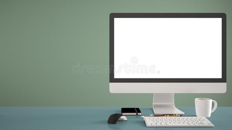 桌面大模型、模板、计算机在蓝色工作书桌上有黑屏的,键盘老鼠和笔记薄与笔和铅笔,绿色pa 免版税库存图片