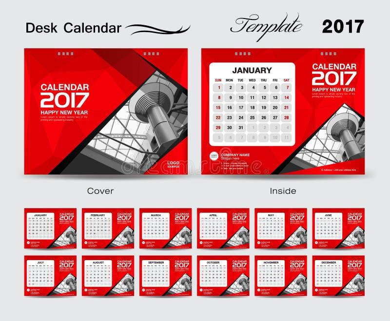 桌面日历2017传染媒介模板,红色日历,套12 Mont 库存例证