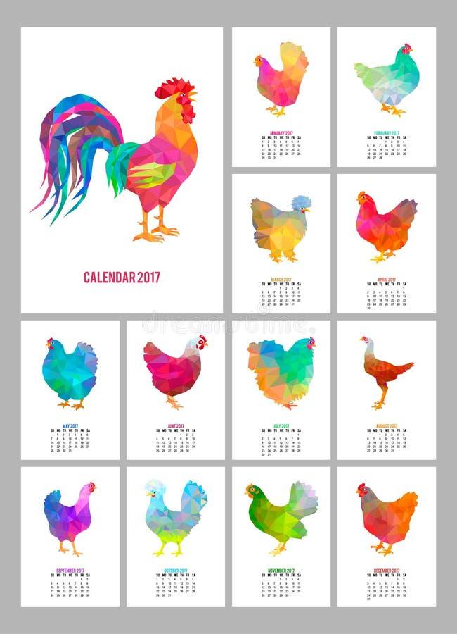 桌面日历2017年 套12个五颜六色的月页和盖子 抽象低多雄鸡和鸡 向量例证