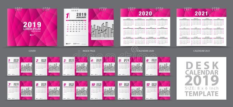 桌面日历2019年模板,套12个月,日历2019年2020年,2021年艺术品,计划者 皇族释放例证