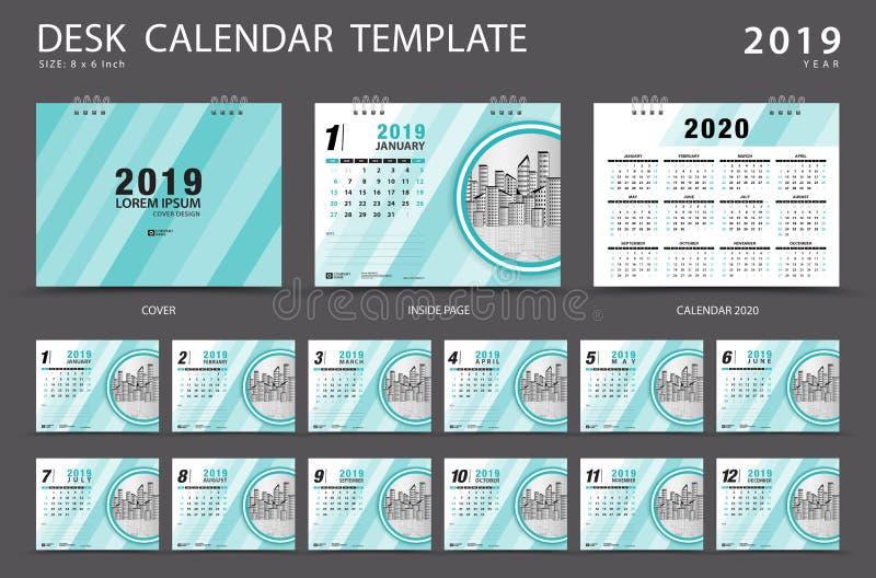 桌面日历2019年模板 套12个月 计划程序 在星期天,星期起始时间 文具设计 登广告者做广告 向量例证