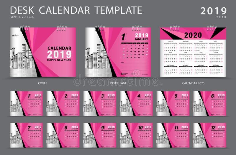 桌面日历2019年模板 套12个月 计划程序 在星期天,星期起始时间 文具设计 库存例证