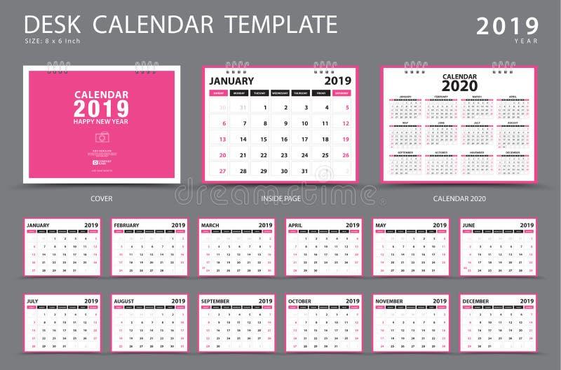 桌面日历2019年模板 套12个月 计划程序 在星期天,星期起始时间 文具设计 向量例证