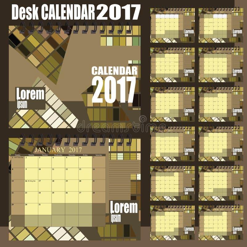 桌面日历2017年 向量例证