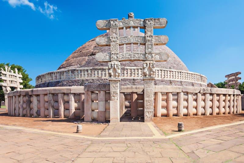 桑吉Stupa,印度 免版税图库摄影