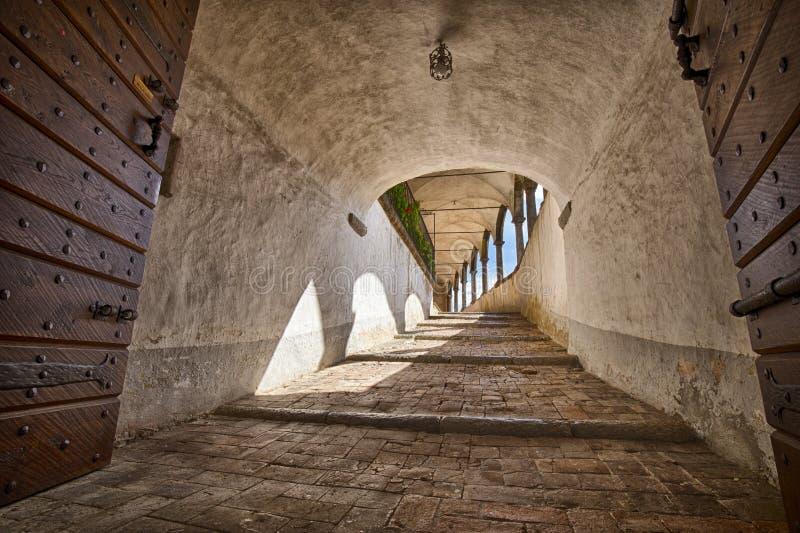 桑图阿里奥二卢多维西别墅圣巴特利爵堂台阶视图 库存图片