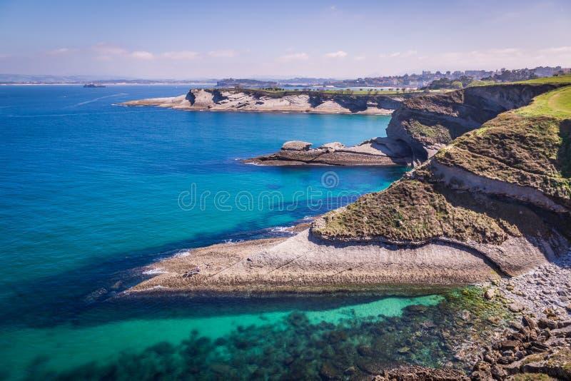 桑坦德海岸的全景从Bella景色锂的 库存照片