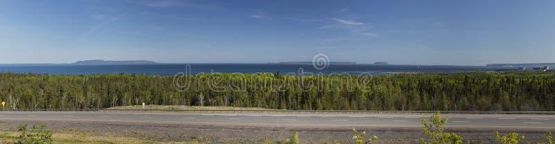 桑德贝苏必利尔湖风景全景 图库摄影