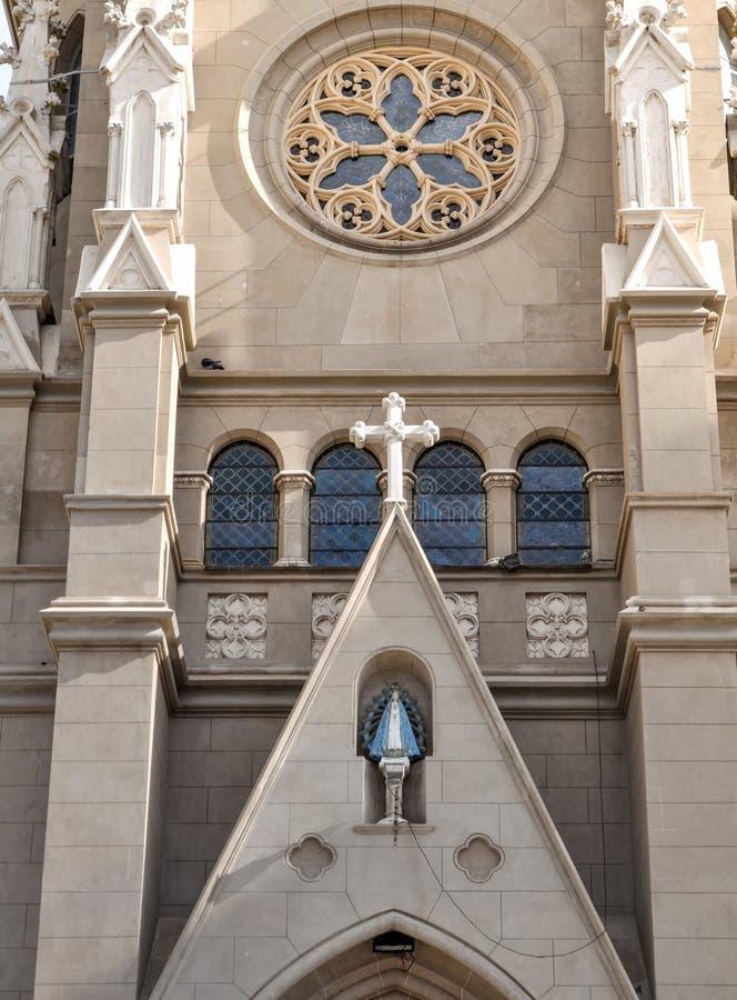 桑托斯佩德罗y塞西莉亚大教堂在马德普拉塔,布宜诺斯艾利斯 免版税库存照片