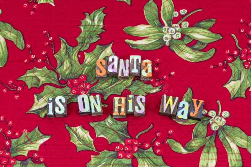 桑特克劳斯以后的镇圣诞节印刷术 库存图片