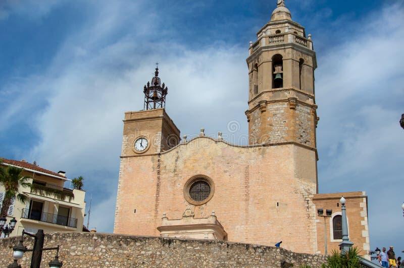 桑特巴托梅乌i圣塔泰克拉锡切斯教会在巴塞罗那,加泰罗尼亚,西班牙 库存照片