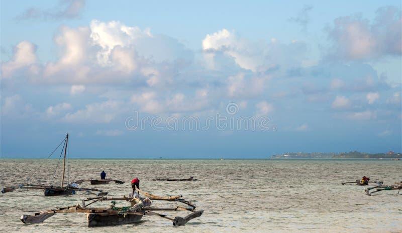 桑给巴尔东海岸的渔夫  库存图片