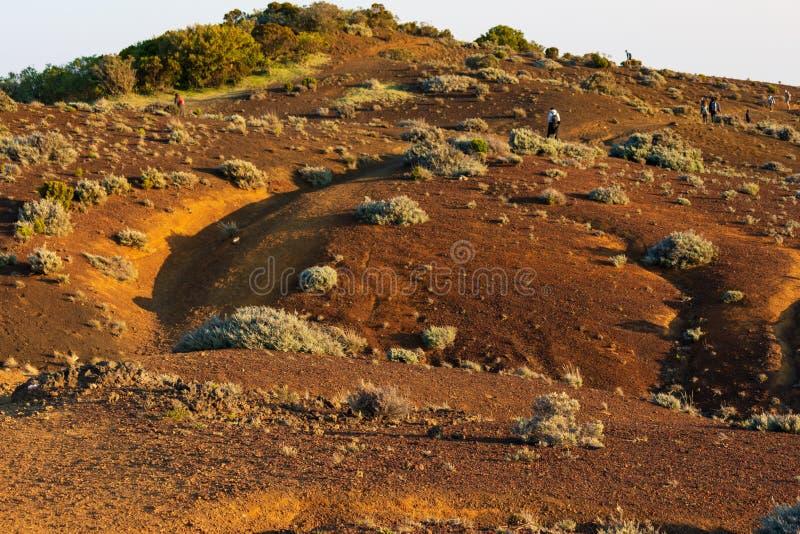 桑迪在日落的沙漠风景与后面的流浪汉 库存照片