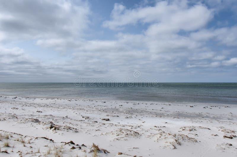 桑迪沿海在多云天空下 库存照片