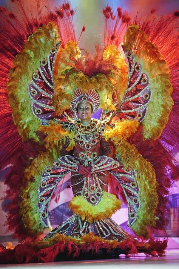 桑巴展示的舞蹈家在Plataforma里约热内卢 免版税库存照片