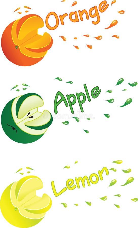 桔子、柠檬和苹果的符号图象用汁液飞溅 皇族释放例证