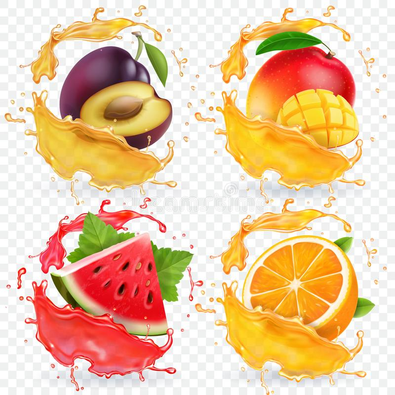 桔子、西瓜、李子和芒果汁飞溅新鲜水果传染媒介象集合 皇族释放例证