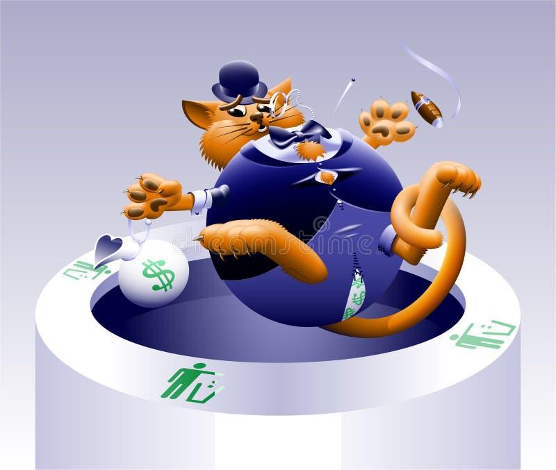 没有肥胖猫3 : 在垃圾的猫 向量例证