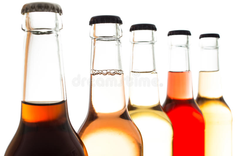 桔子和其他柠檬水在玻璃瓶 库存照片