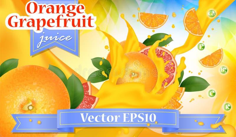 桔子和葡萄柚汁广告 飞溅水多的切片 库存例证
