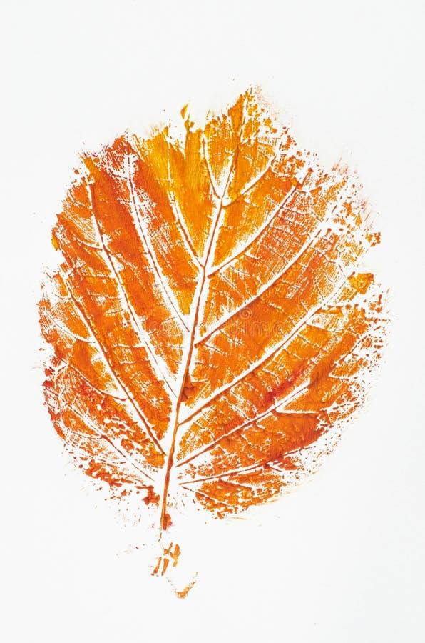 桔子打印的秋天叶子 免版税库存图片