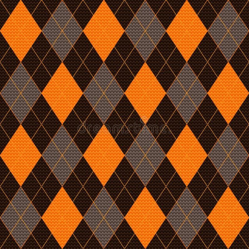 桔子,棕色和灰色菱形的被编织的无缝的样式 皇族释放例证