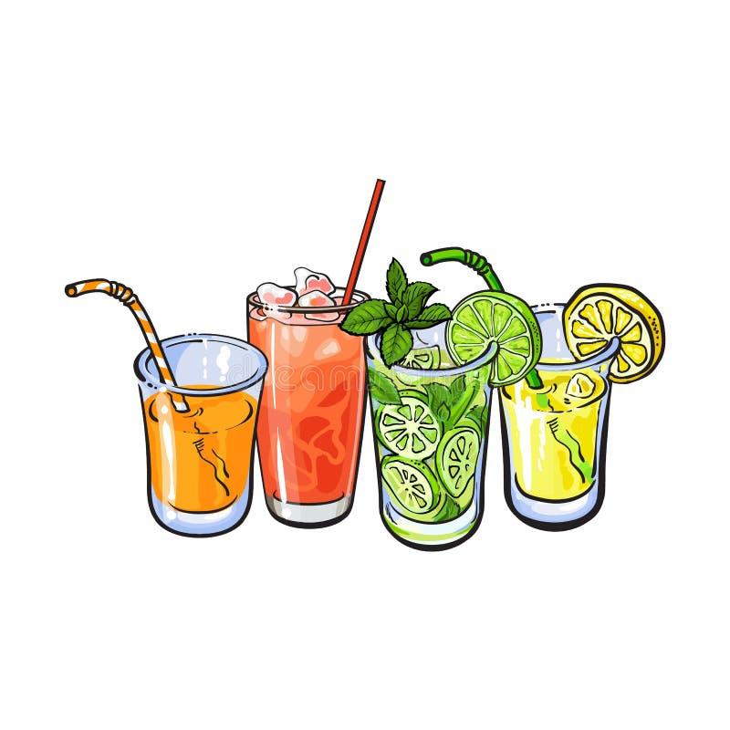 桔子,葡萄柚,柠檬,与冰的柠檬汁在玻璃 皇族释放例证
