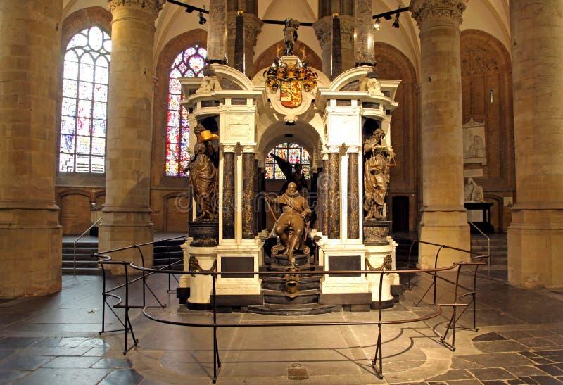 桔子-坟茔的威廉在教会里在德尔福特,荷兰 免版税库存图片