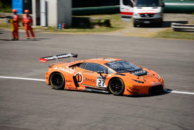 桔子1队拉撒路Lamborghini Huracan GT3在蒙扎 库存照片