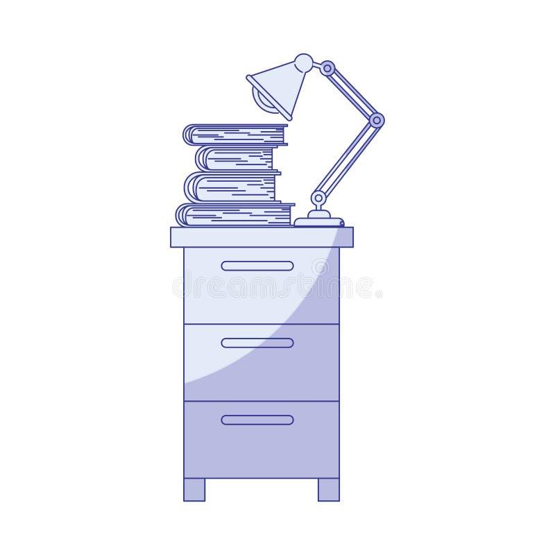 档案橱柜蓝色遮蔽的剪影有灯和书的 库存例证