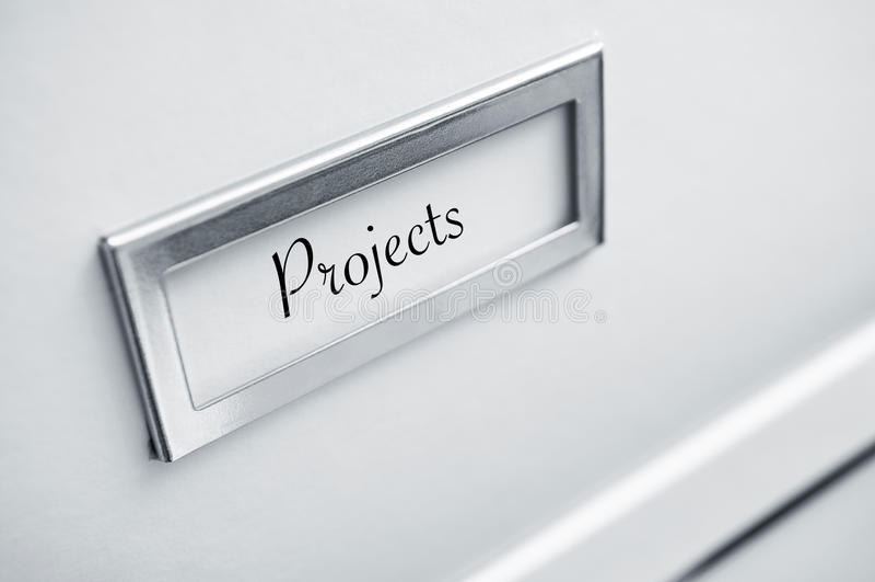 档案纸板特写镜头与贴纸的与词 库存照片
