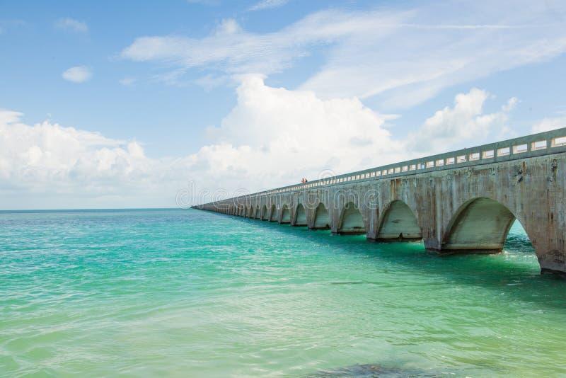 桥梁佛罗里达锁上英里七 免版税库存照片