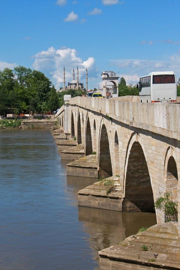 桥梁和清真寺在土耳其 库存照片