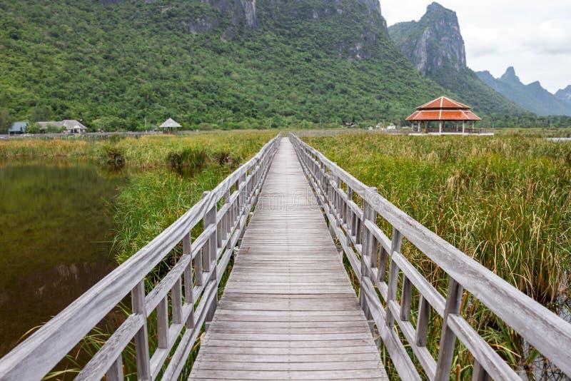 桥梁和风雨棚在湖 库存图片