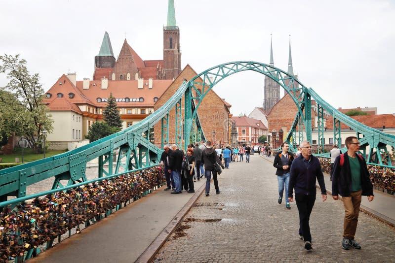桥梁在弗罗茨瓦夫,波兰 免版税图库摄影
