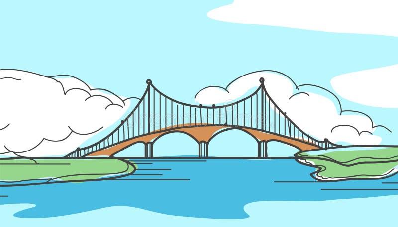 桥梁在手中被画的样式 库存例证