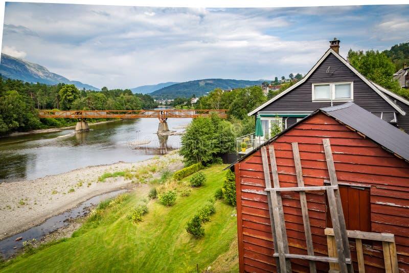 桥梁在沃斯,霍达兰,挪威 库存照片