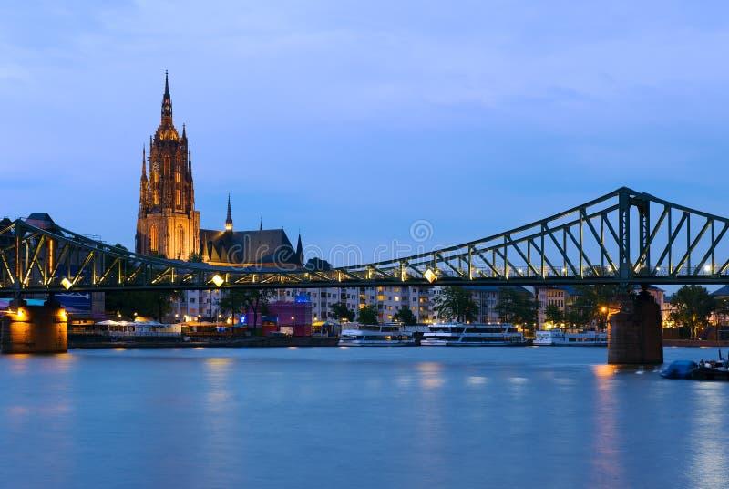 桥梁在法兰克福,德国 库存图片