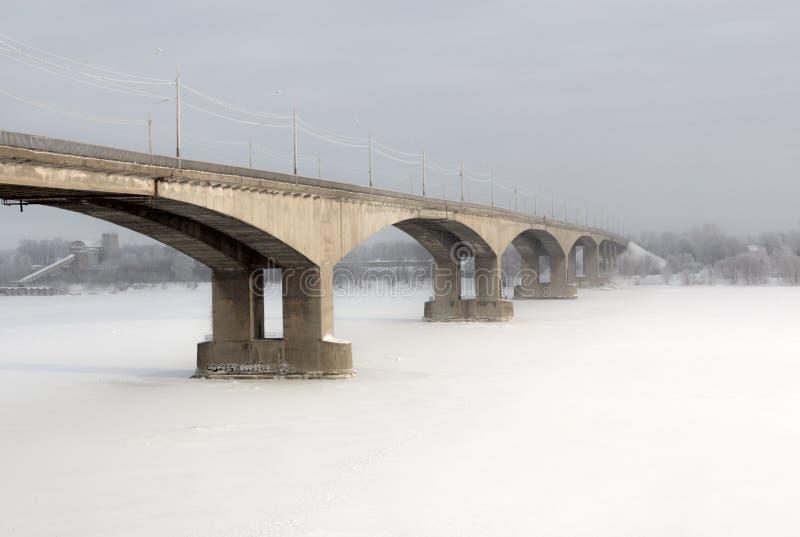 桥梁在雅罗斯拉夫尔市。俄罗斯 免版税库存图片