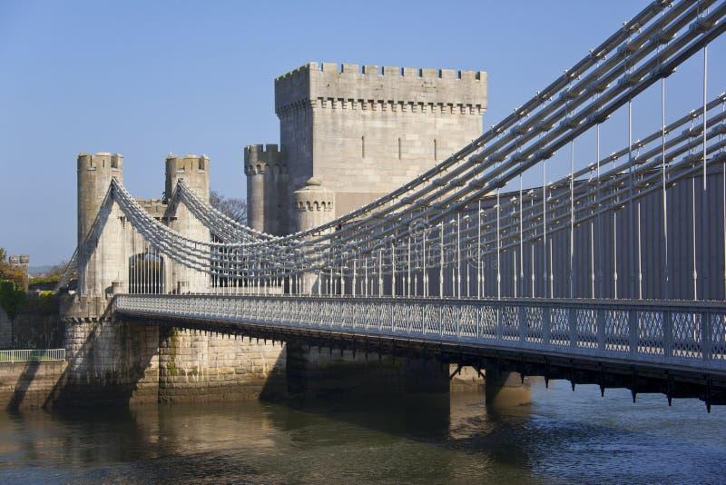 桥梁城堡conwy威尔士 库存图片