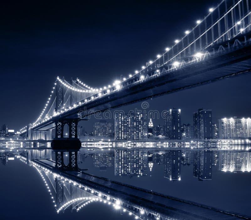 桥梁城市曼哈顿新的晚上约克 图库摄影
