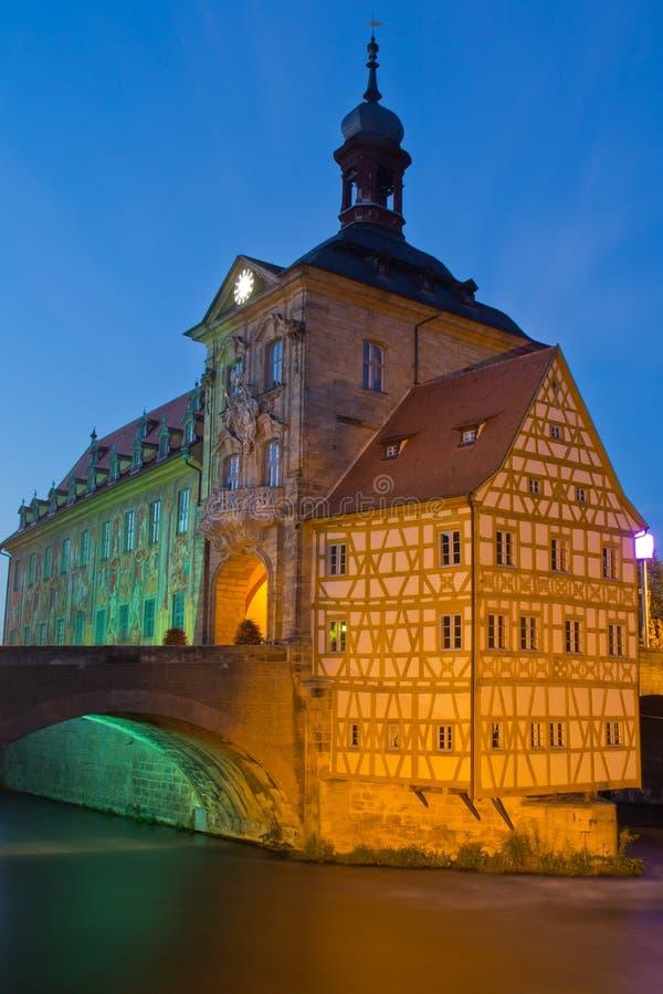 桥梁城镇厅在琥珀,巴伐利亚 免版税库存图片