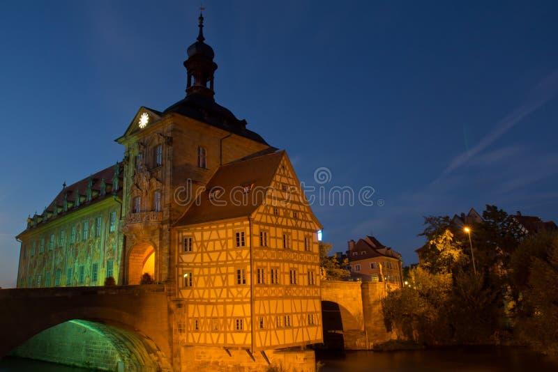 桥梁城镇厅在琥珀,巴伐利亚 免版税图库摄影