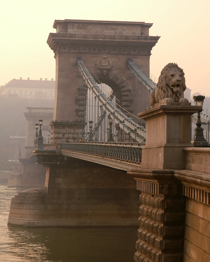 桥梁布达佩斯链狮子 库存照片