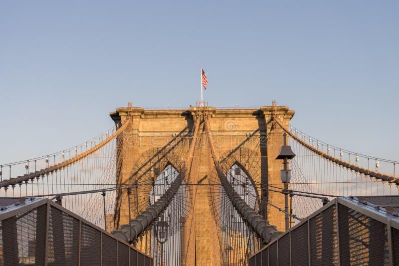 桥梁布鲁克林日落 库存图片