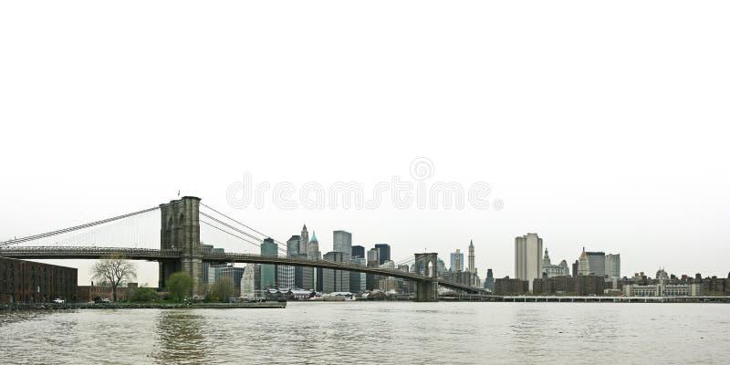 桥梁布鲁克林更低的曼哈顿panora地平线 免版税图库摄影