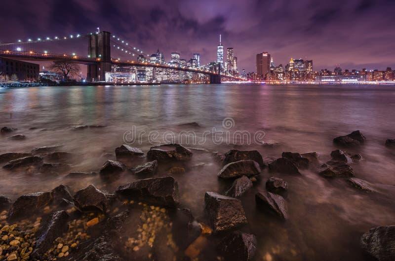 桥梁布鲁克林曼哈顿日落 免版税库存照片