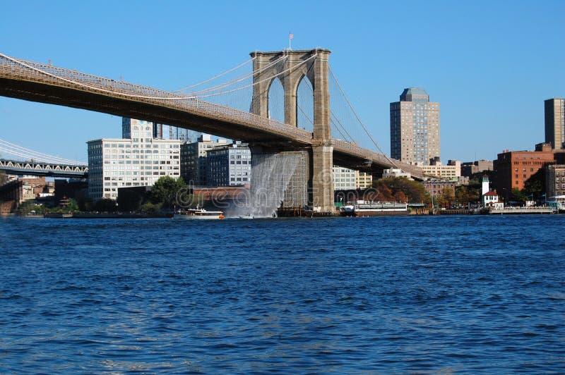 桥梁布鲁克林瀑布 图库摄影